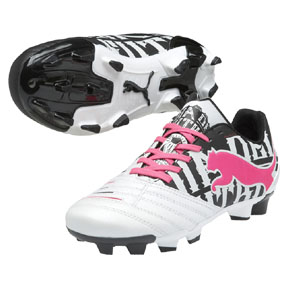 Puma Youth Powercat 3 Graphic FG Soccer Shoes (White/Pink)