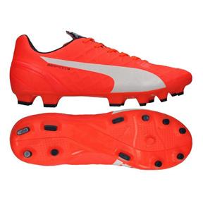 Puma evoSpeed 4.4 FG Soccer Shoes (Lava Blast/White)