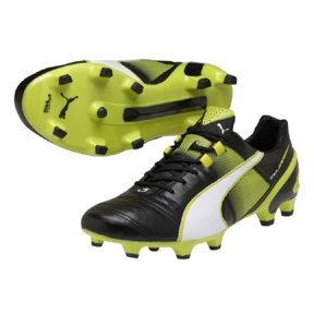 Puma  King  II SuperLight FG Soccer Shoes (Black/White/Yellow)