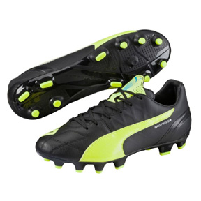 Puma evoSpeed 3.4 Leather FG Soccer Shoes (Black/Yellow)