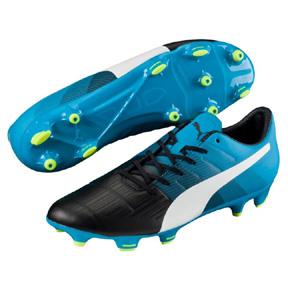 Puma evoPower 3.3 FG Soccer Shoes (Black/Atomic Blue)
