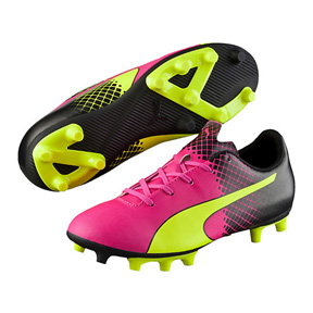Puma Youth evoSpeed 5.5 Tricks FG Soccer Shoes (Pink/Yellow)