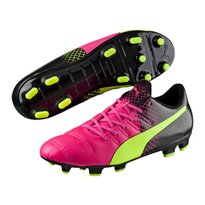 Puma  evoPower  4.3 Tricks FG Soccer Shoes (Pink Glo/Yellow)