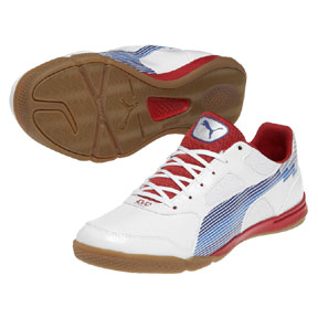Puma evoSpeed 4 Sala Indoor Soccer Shoes (White/Blue/Red)