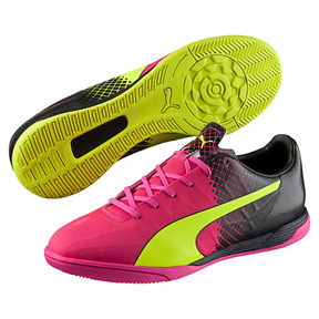 Puma evoSPEED 4.5 Tricks IT Indoor Soccer Shoes (Pink Glo/Yellow)