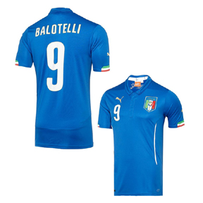 Puma Italy Balotelli #9 World Cup 2014 Soccer Jersey (Home)