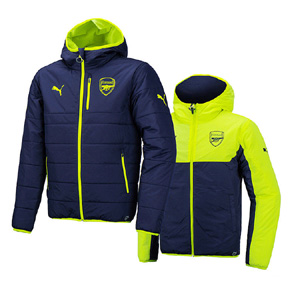 Puma  Arsenal  Reversible Puffy Soccer Jacket (Peacoat/Yellow)