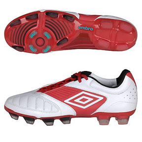 Umbro  Geometra Pro A FG Soccer Shoes (White/Red)