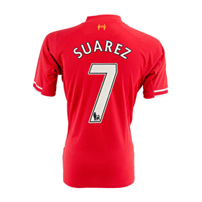 Warrior  Liverpool Suarez #7 Soccer Jersey (Home 2013/14)