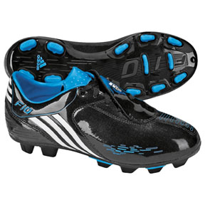adidas Youth F10i TRX FG Soccer Shoes (Black/White/Cyan)