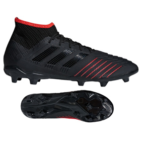 adidas  Predator  19.2 FG Soccer Shoes (Black/Active Red)