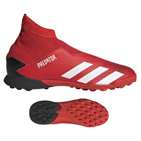 adidas Youth  Predator  20.3 Laceless Turf Soccer Shoes (Red/Black)