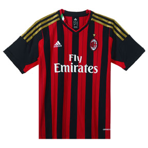 adidas Youth AC Milan Soccer Jersey (Home 13/14)