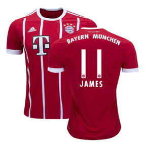 adidas Bayern Munich James #11 Soccer Jersey (Home 17/18)
