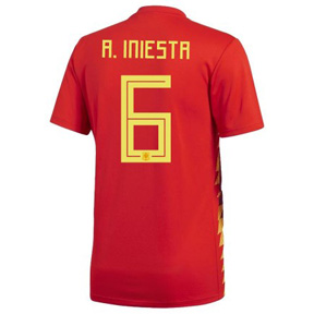 adidas  2018 World Cup  Spain Iniesta #6 Soccer Jersey (Home)
