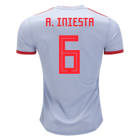 adidas  Spain Iniesta #6 World Cup 2018 Soccer Jersey (Away)