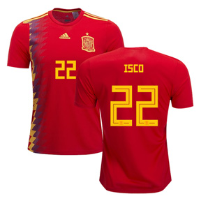 adidas   Spain Isco #22 World Cup 2018 Soccer Jersey (Home)