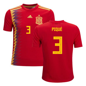 adidas  Spain Pique #3 World Cup 2018 Soccer Jersey (Home)