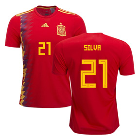 adidas Spain  Silva #21 Soccer Jersey (Home 18/19)