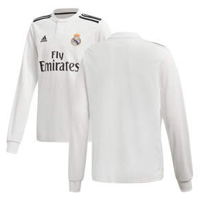 adidas Youth Real Madrid Long Sleeve Soccer Jersey (Home 18/19)
