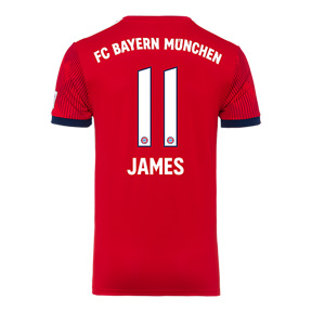 adidas Youth  Bayern Munich James #11 Soccer Jersey (Home 18/19)