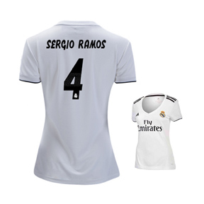 adidas Womens Real Madrid Ramos #4 Soccer Jersey (Home 18/19)