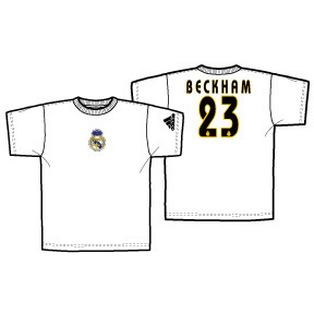 adidas Real Madrid David Beckham #23 Soccer Tee (White)