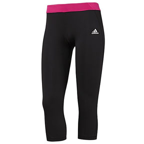 adidas Womens TechFit 3/4 Soccer Compression Pant (Black/Pink)