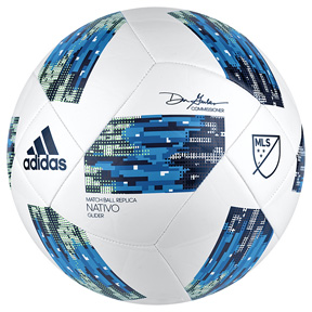 adidas MLS  Nativo Glider Soccer Ball (White/Blue - 2018)