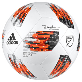 adidas MLS  Nativo Glider Soccer Ball (White/Orange - 2018)