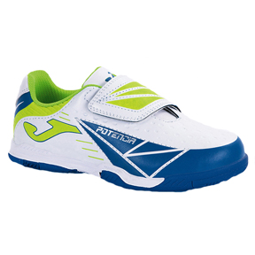 Joma Youth Tactil Indoor Soccer Shoes (White/Royal)
