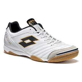 Lotto Stadio 300 Indoor Soccer Shoe (White/Gold Star)