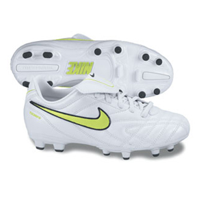 Nike Youth Tiempo Natural III FG Soccer Shoes (White/Volt)