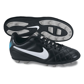 Nike Youth Tiempo Rio FG Soccer Shoes (Black/White/Blue)