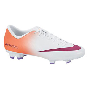 Nike Womens Mercurial Victory IV FG Soccer Shoes (White/Orange)