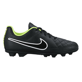 Nike Youth Tiempo Rio II FG-R Soccer Shoes (Black/Volt)