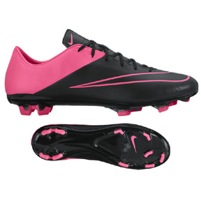Nike Mercurial Veloce II Leather FG Soccer Shoes (Black/Pink)