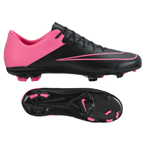 Nike Youth Mercurial Vapor  X FG Soccer Shoes (Black/Pink)