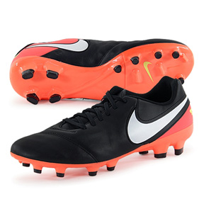 Nike Tiempo Genio II Leather FG Soccer Shoes (Black/Hyper Orange)
