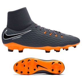 Nike Youth HyperVenom Phantom  III Academy DF FG (Grey/Orange)