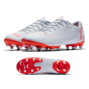 Nike Mercurial Vapor XII Academy MG Soccer Shoes (Grey/Crimson)