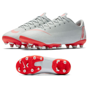 Nike Youth Mercurial Vapor XII Academy MG Shoes (Grey/Crimson)