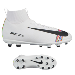 Nike Youth CR7  Superfly 6 Club MG Soccer Shoes (White/Multicolor)