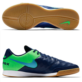 sports shoes c1b00 a5140 Nike TiempoX Genio II Leather Indoor Soccer Shoes (BlueGreen)