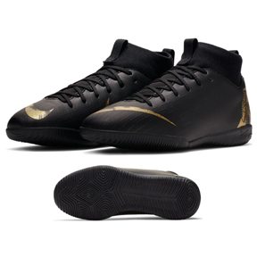 Nike Youth  Superfly 6 Academy GS Indoor Soccer Shoes (Black/Gold)