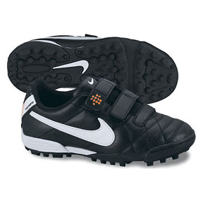 Nike Youth Tiempo Velcro V3 AF Turf Soccer Shoes (Black/White)