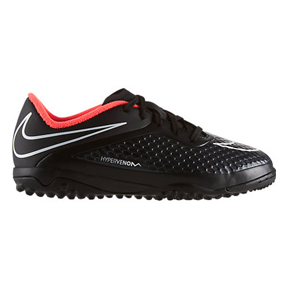 Nike Youth HyperVenom Phelon Turf Soccer Shoes (Black/Punch)