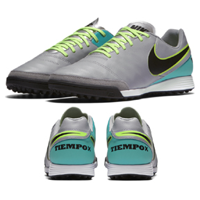Nike TiempoX Genio Leather Turf Soccer Shoes (Wolf Gray/Jade)