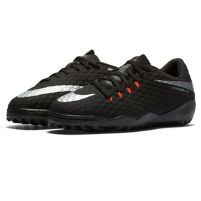 Nike Youth HyperVenomX Phelon III Turf Soccer Shoes (Black)