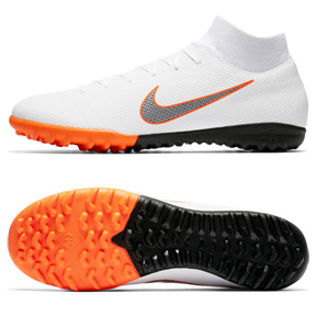 Nike SuperflyX 6 Academy Turf Soccer Shoes (White/Orange)